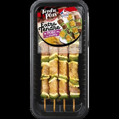 Brochette de porc au curry extra tendre, TENDRE ET PLUS, France, 4 pièces, 320g