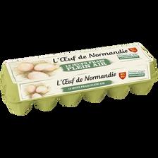 Oeufs de Normandie plein air calibre moyen, boîte de 12