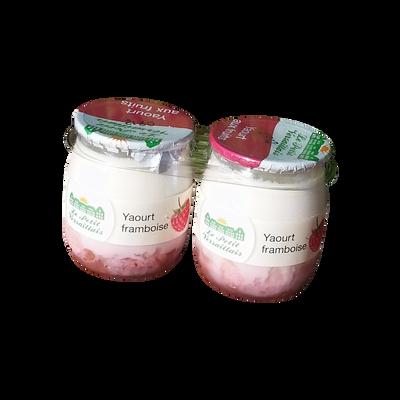 Yaourt au lait entier bi-couche framboise LE PETIT VERSAILLAIS, pot enverre 2x125g