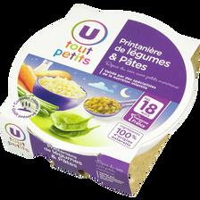 Assiette soir printanière de légumes et pâtes U TOUT PETITS, dès 18mois, 260g