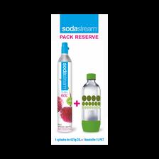 Pack cylindre comprenant:cartouche CO2+bouteille PET 1l Sodastream bulles de couleur verte gratuite