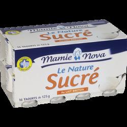 Yaourt nature sucré au lait demi écrémé MAMIE NOVA, 16x125g