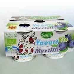 Yaourt bio lait entier aromatisé myrtille 4x125g Laiterie La Tourette
