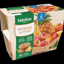 Coupelle harmonie de fruits BLEDINA, de 6 à 36 mois, 4x100g