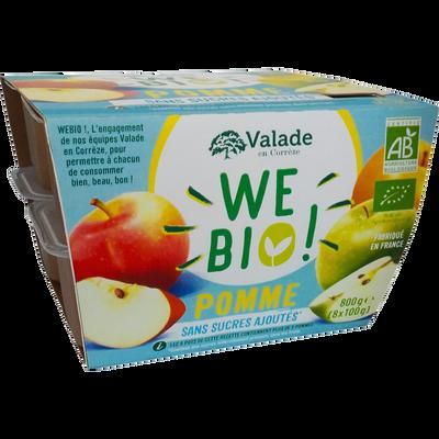 Purée de pommes bio sans sucre ajouté WE BIO, 8x100g