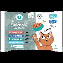 Emincés en sauce poissons pour chat U, 4x100g