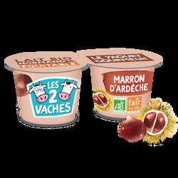 Yaourt bio brassé marron LES 2 VACHES, 2x115g