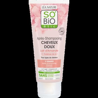 Après shampooing cheveux doux au lait amandes et protéine de riz Bio LEA NATURE, tube de 200ml
