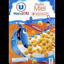 Boules de céréales miel U MAT ET LOU, 375g
