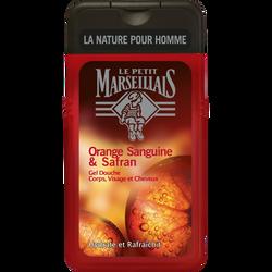 Gel douche homme corps et cheveux orange sanguine et safran LE PETIT MARSEILLAIS, flacon de 250ml