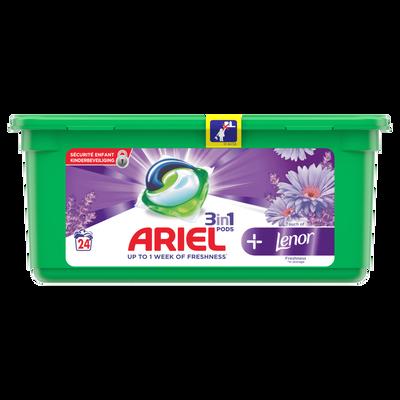 Lessive 3/1 lenor ARIEL pods+, x24 doses, soit 650,4g
