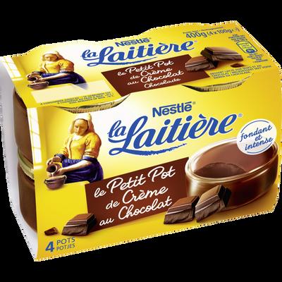 Petits pots de crème chocolat, dessert lacté aux oeufs frais LA LAITIERE, 4x100g.