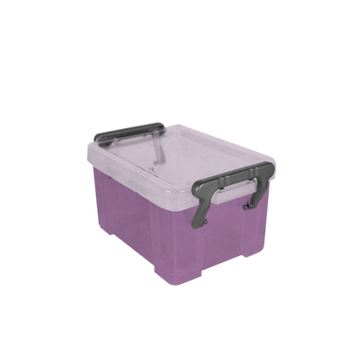 Boite de rangement, en polypropylène, 0,13l, violet translucide, idéale pour ragner les accessoires de bureau