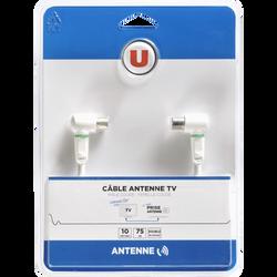 Câble antenne U coudé M/F, 10m, connecteur 1 9,52mm mâle blanc coudé,connecteur 2 9,52mm femelle blanc coudé, inclus adaptateur 9,52 mm mâle/mâle