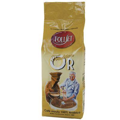 Café moulu tradition or arabica FOLLIET, paquet 250g