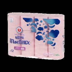 Papier toilette ultra moelleux rose 3 plis U, x12