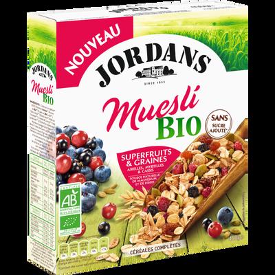Céréales muesli superfruits complétes JORDANS, boîte de 450g