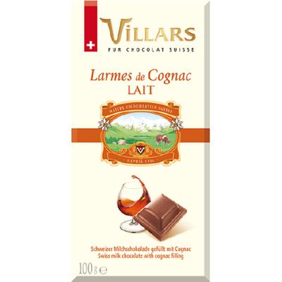 """Chocolat au lait à la fine champagne """"Larmes de cognac"""", VILLARS, tablette de 100g"""