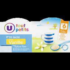 P'tit lacté saveur vanille dès 6 mois, U TOUT PETITS, 400g