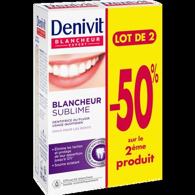 Dentifrice crème blancheur & éclat DENIVIT, tube de 2x50ml