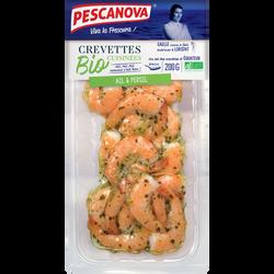 Crevette cuite ail/persil, Penaeus Vannamei, BIO, transformé en France, 200g
