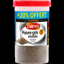 Poivre gris moulu n° 7 DUCROS, boîte ménagère de 90g+20% offert