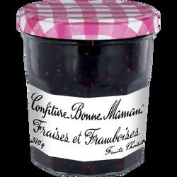 Confiture de fraises et framboises BONNE MAMAN, bocal de 370g