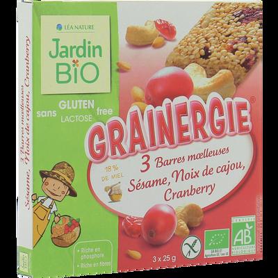 Barre sésame cranberries noix de cajou sans gluten JARDIN BIO, 75 g