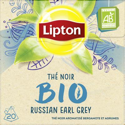 Thé noir bio aromatisé bergamote et agrumes russian earl grey LIPTON,20 sachets pyramide, 32g
