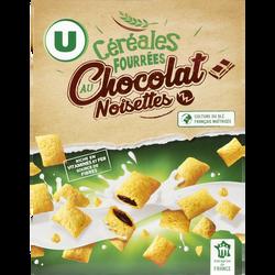 Céréales fourrées au chocolat et noisettes U, boîte de 375g