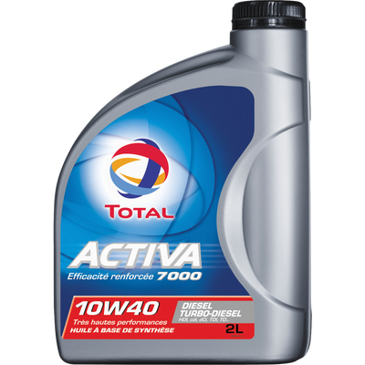 Huile10W40 pour moteurs diesel Activa 7000 TOTAL, 2 litres