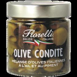 FLORELLI OLIVES CONDITE ( mélange d'olives italiennes à l'ail et au piment) 185g