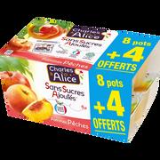 Charles & Alice Desserts Aux Fruits Pomme/pêche Sans Sucre Ajouté Charles & Alice8x100g + 4 Offerts