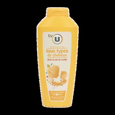 Shampoing familial aux oeufs et au lait de vanille pour tous types decheveux BY U, flacon de 500ml