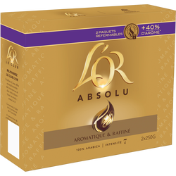 Café moulu L'OR, absolu arôma lock, 2x250g