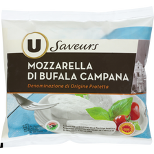 Mozzarella di bufala Campana DOP au lait pasteurisé U SAVEURS, 25% deMG, 125g