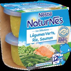 Séléction légumes verts,riz, saumon sauvage dès 12 mois NATURNES, 2x200g