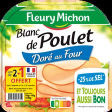 Fleury Michon Blanc Poulet -25% De Sel , 4 Tracnches Soit 480g