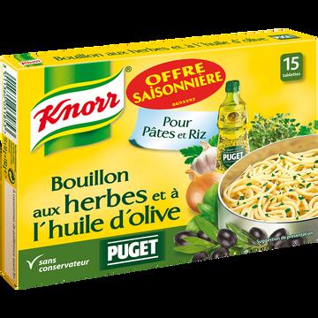 Knorr Bouillon Herbes Et Huile Olive Puget Knorr, 15x150g Soit 7,5l