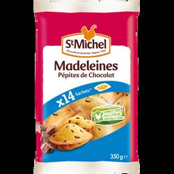 Madeleines coquilles pépites chocolat ST MICHEL, 14 unités soit 350g