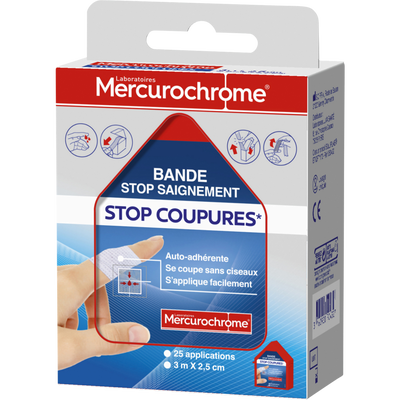 Stop coupures, 3 m x 2,5 cm MERCUROCHROME
