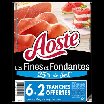 Aoste Jambon Cru Tranches Fines Fondantes Taux Sel Réduit Aoste, 6 + 2 Offertes, 134g