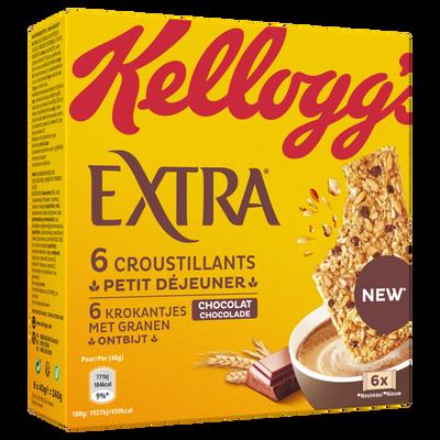 Barre EXTRA croustillant petit déjeuner miel KELLOGG'S, 6x40g
