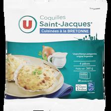 Coquilles St Jacques MSC 30% noix cuisinées à la bretonne U, 4 unitéssoit 360g