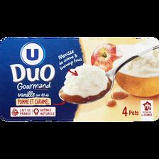 Fromage frais à la vanille sous mousse de crème fouettée sur lit de pommes caramélisées, U, 4x100g