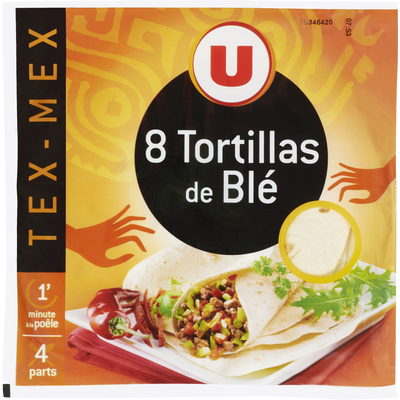 Tortillas souples blé U, 8 paquets de 320g