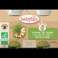 Pot pomme de terre du Val de Loire  Petits pois BABYBIO, dès 6 mois, 2x130g soit 260g