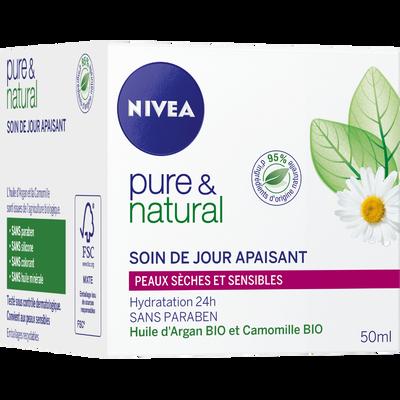 Crème jour hydratante pour peaux sensibles Pure & Natural NIVEA VISAGE, 50ml