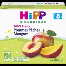 HiPP Compote Infantile Bio 100% Fruits Pomme Pêche Mangue , Dès 8 Mois,4x100g