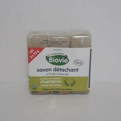 Savon détachant à l'huile d'olive bio BIOVIE sachet 3x75g